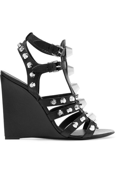 balenciaga female 188971 balenciaga studded texturedleather wedge sandals black