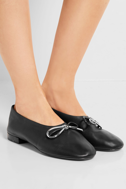 Black Bow-embellished leather ballet