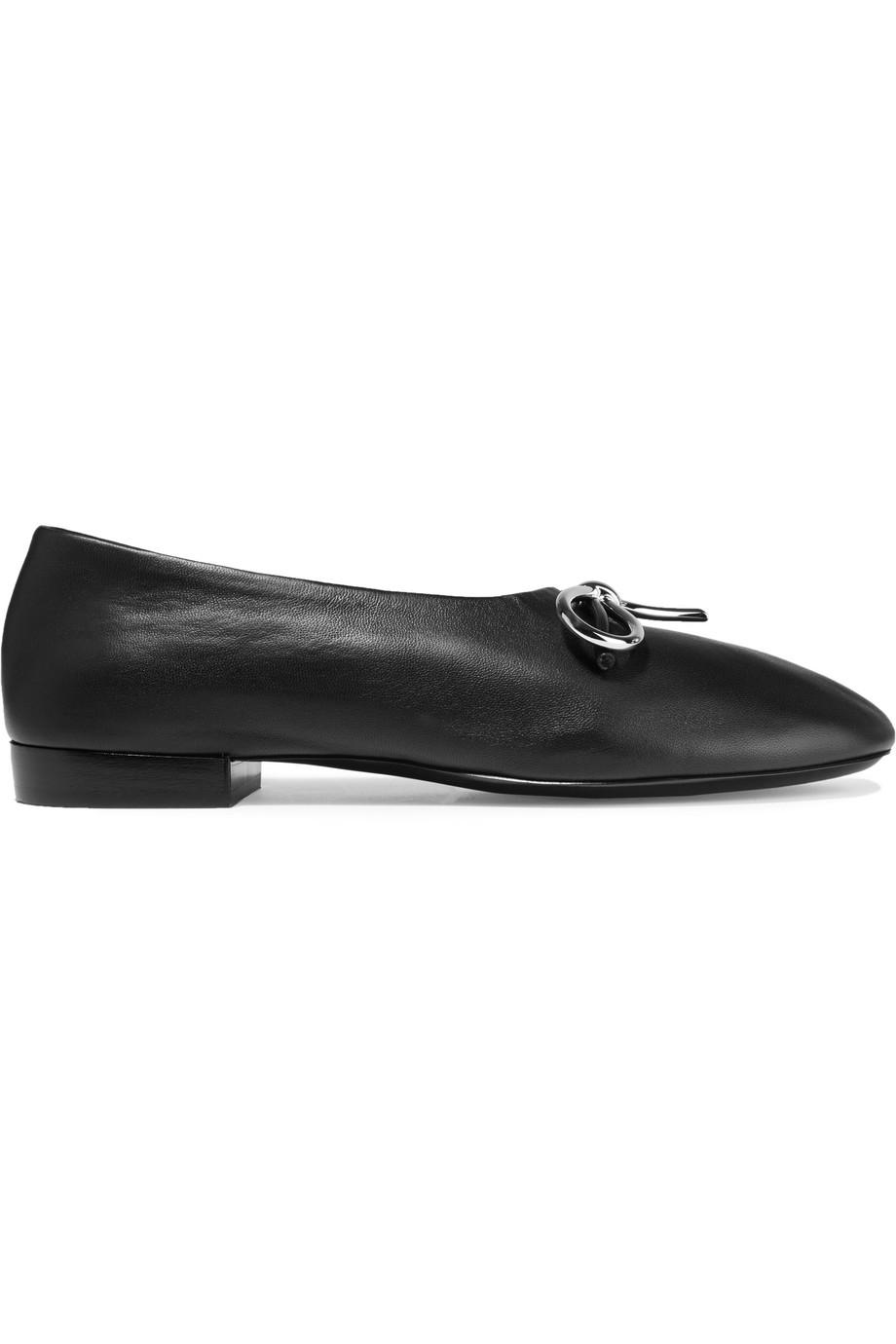 Balenciaga Bow-Embellished Leather Ballet Flats, Size: 40