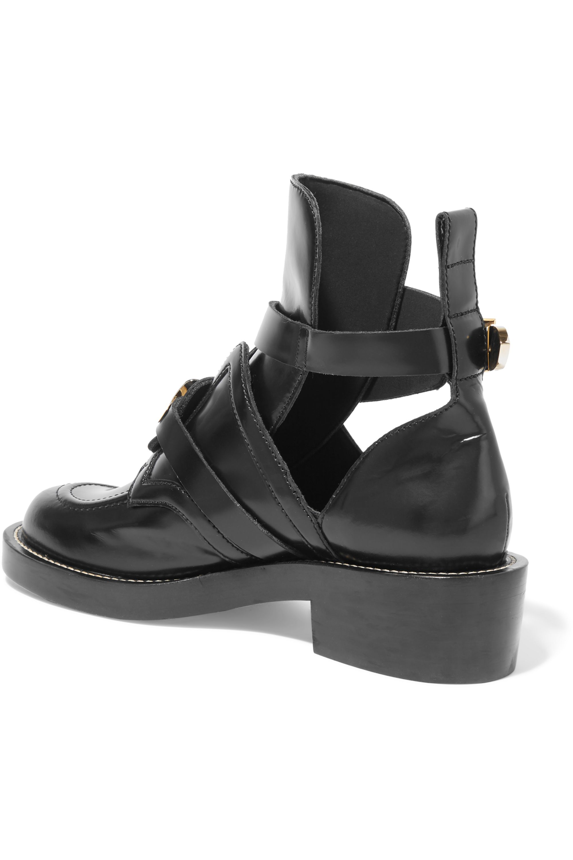 Balenciaga Cutout glossed-leather ankle boots