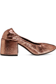 Metallic textured-leather pumps