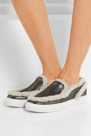 Shearling-trimmed metallic textured-leather sneakers