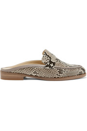 Leather-trimmed python loafers