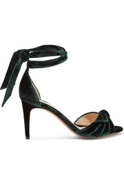 Clarita bow-embellished velvet sandals