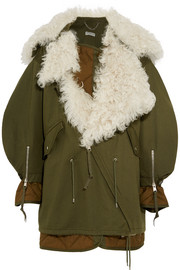 Oversized shearling-lined cotton-twill parka