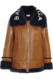 Balenciaga Le Bombardier shearling-trimmed leather bomber jacket