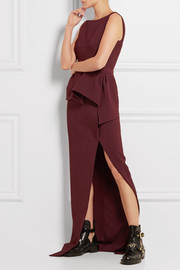 Stretch-crepe peplum gown