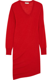 Asymmetric wool, silk and cashmere-blend dress