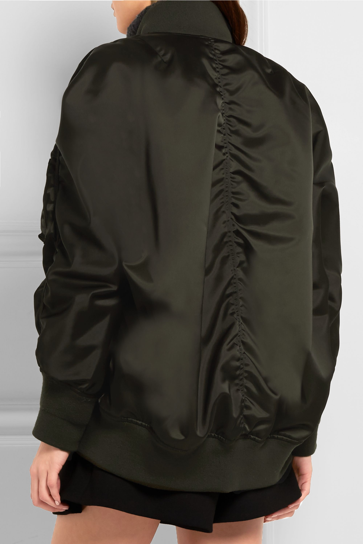 Balenciaga Jersey-trimmed satin bomber jacket