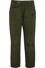 Paneled cotton-twill straight-leg pants