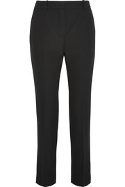 Wool-crepe straight-leg pants