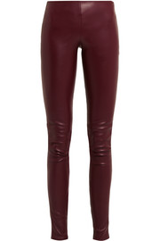 Stretch-leather skinny pants