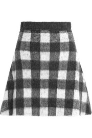 Checked brushed knitted mini skirt