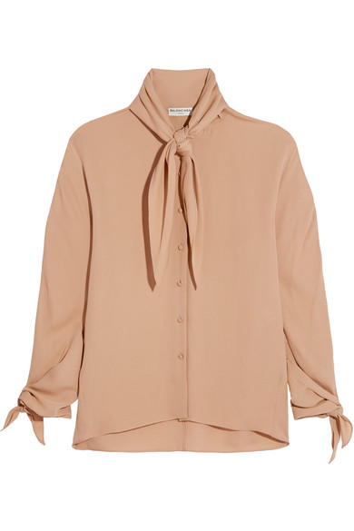 Balenciaga - Pussy-bow Silk-georgette Blouse - Neutral