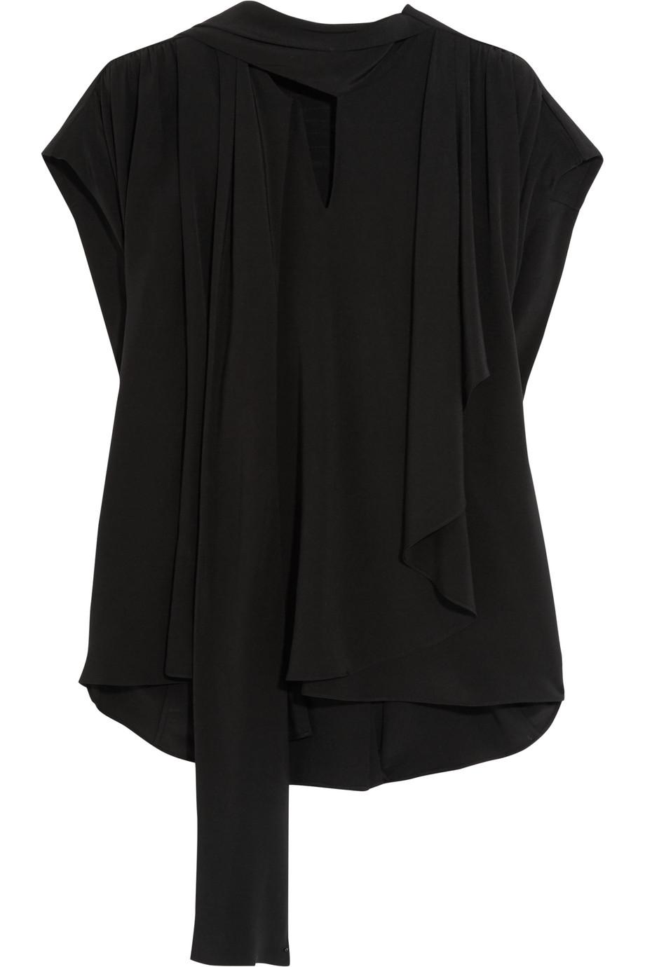 Balenciaga Draped Pussy-Bow Silk Crepe De Chine Top, Black, Women's, Size: 42