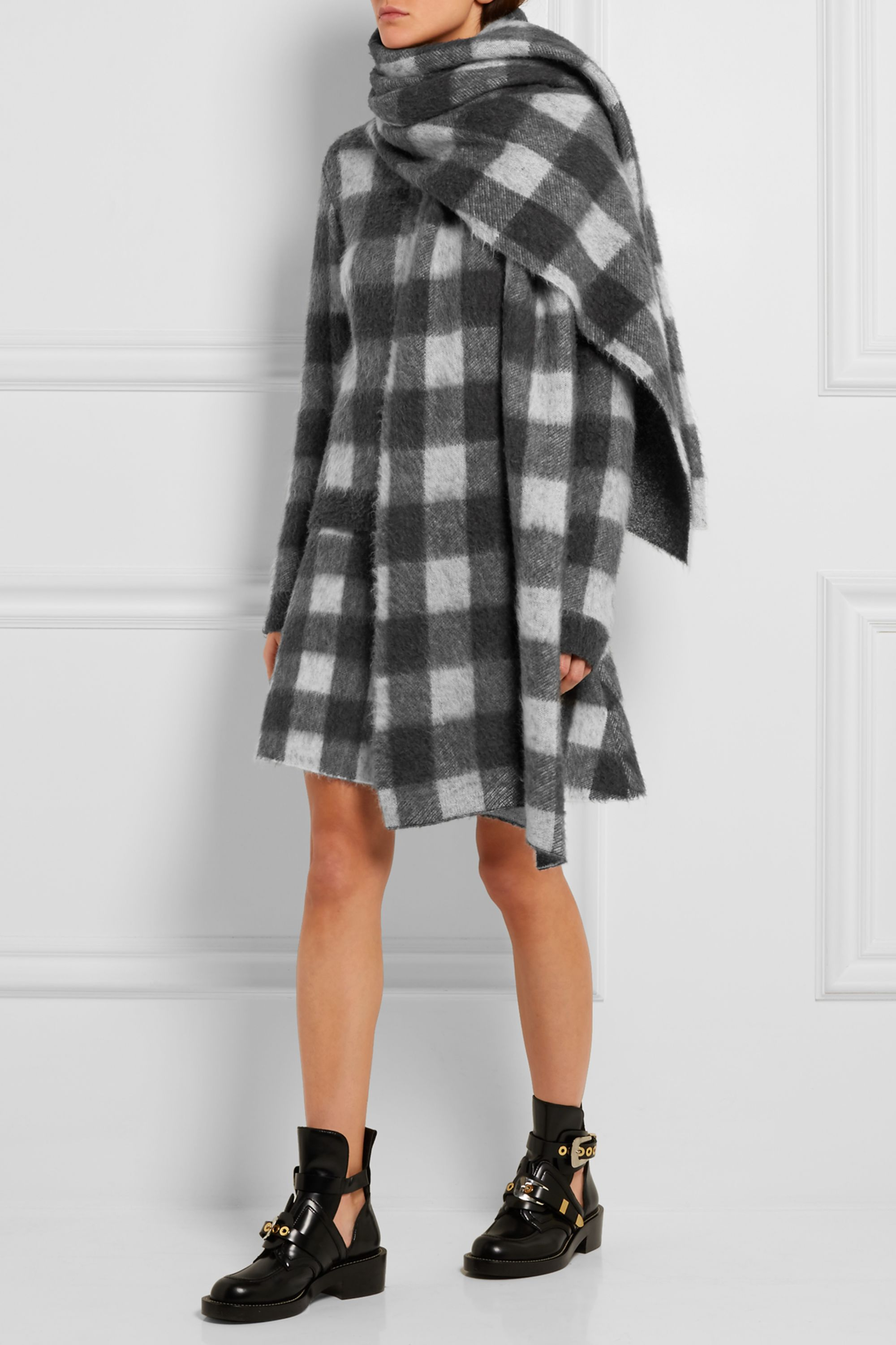 Balenciaga Checked brushed knitted turtleneck sweater