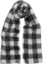 Checked brushed knitted scarf