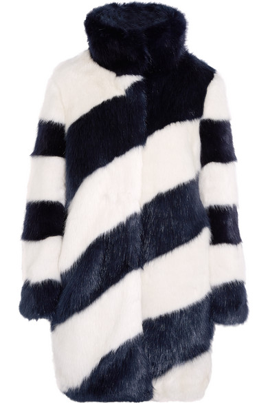 J.Crew - Geo Striped Faux Fur Coat - Midnight blue