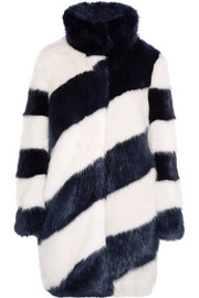 J.Crew Geo striped faux fur coat