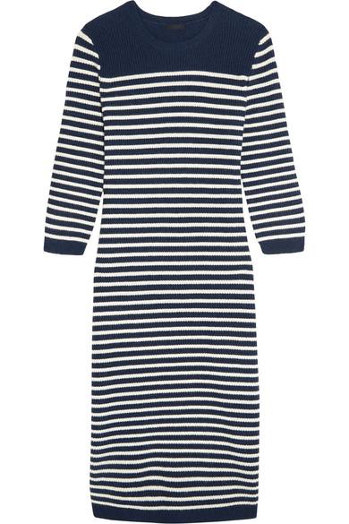 J.Crew - Liv Striped Wool-blend Midi Dress - Navy