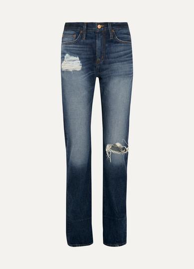 J.Crew - Distressed High-rise Boyfriend Jeans - Indigo