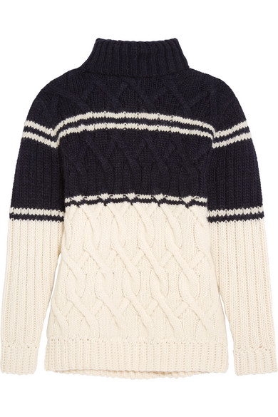 J.Crew - Edna Cable-knit Turtleneck Sweater - Navy