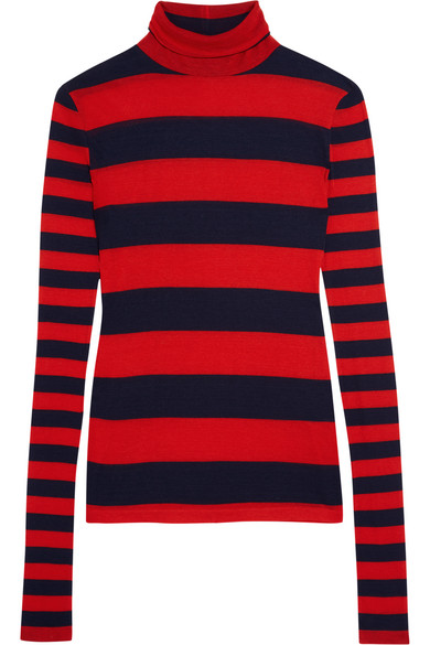 J.Crew - Striped Tencel And Cashmere-blend Turtleneck Sweater - Red