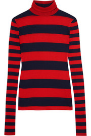 J.Crew Striped Tencel and cashmere-blend turtleneck sweater