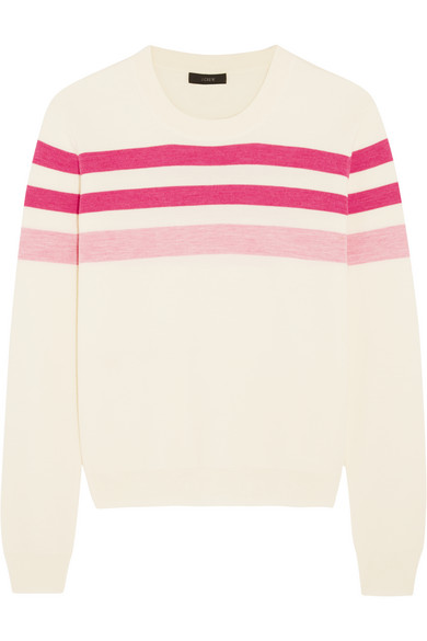 J.Crew - Striped Merino Wool Sweater - Pink