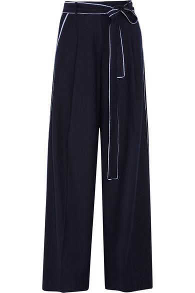 J.Crew - Jitney Wool-blend Flannel Wide-leg Pants - Midnight blue