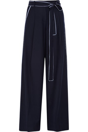 Jitney wool-blend flannel wide-leg pants