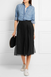 J.Crew Fia polka-dot flocked tulle skirt