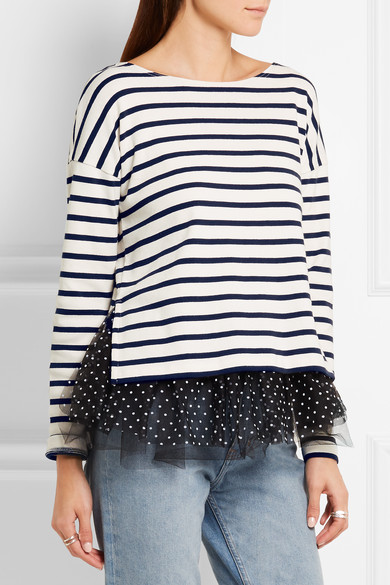J crew polka dot tulle trimmed striped jersey top net for Net a porter