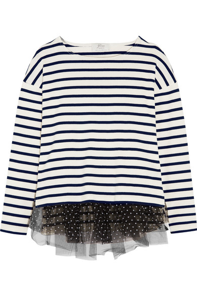 J.Crew - Polka-dot Tulle-trimmed Striped Jersey Top - Cream