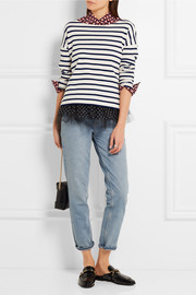 J.Crew Polka-dot tulle-trimmed striped jersey top