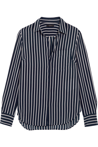 J.Crew - Striped Silk Crepe De Chine Shirt - Navy