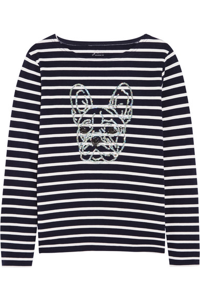 J.Crew - Sequin-embellished Striped Cotton-jersey Top - Midnight blue