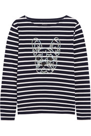 J.Crew Sequin-embellished striped cotton-jersey top