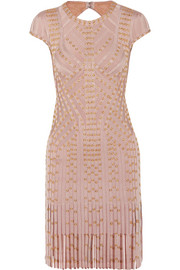 Hervé Léger Fringed embellished bandage mini dress
