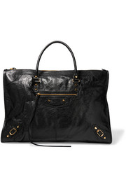Classic Weekend textured-leather tote