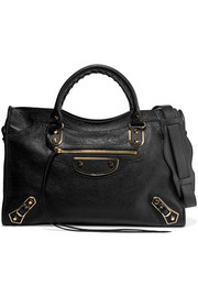 City glossed textured-leather tote