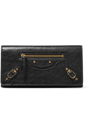 Balenciaga Classic Money studded textured-leather wallet