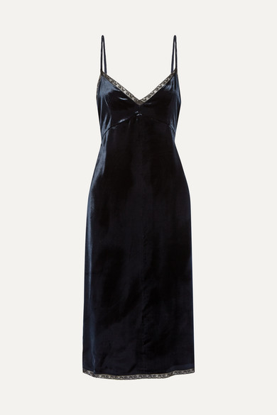 Prada - Lace-trimmed Velvet Dress - Navy