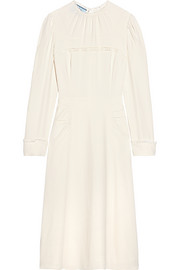 Prada Lace-paneled crepe midi dress