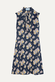 Ruffled floral-print crepe dress