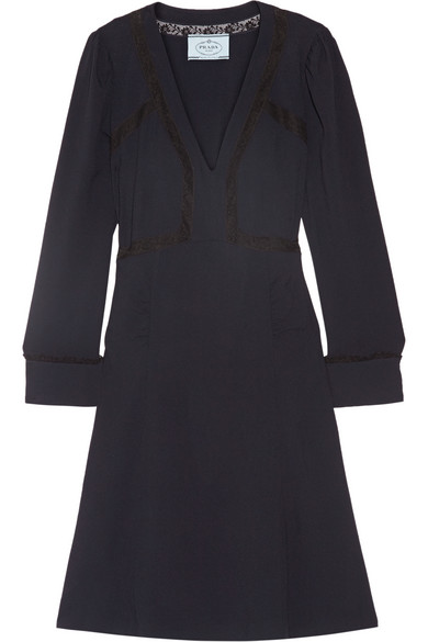 Prada - Lace-trimmed Crepe Dress - Midnight blue