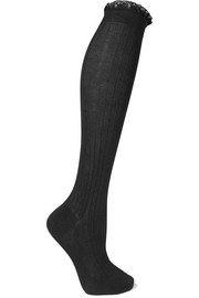 Lace-trimmed ribbed cotton knee socks