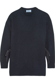 Bow-embellished wool and cashmere-blend sweater