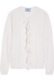 Prada Ruffled ribbed cashmere and silk-blend sweater