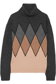 Argyle camel hair turtleneck sweater